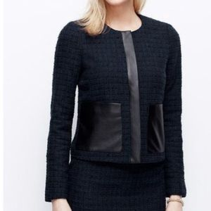 Ann Taylor navy tweed faux leather front blazer
